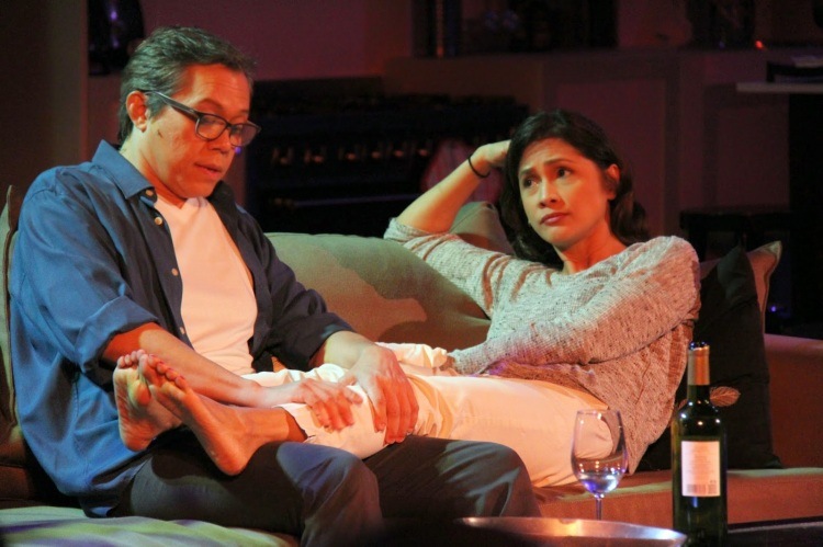 Michael Williams and Agot Isidro as Howie and Becca Corbett in Red Turnip Theater's 'Rabbit Hole'. Photograph courtesy of Franco Laurel of The Happy Man.
